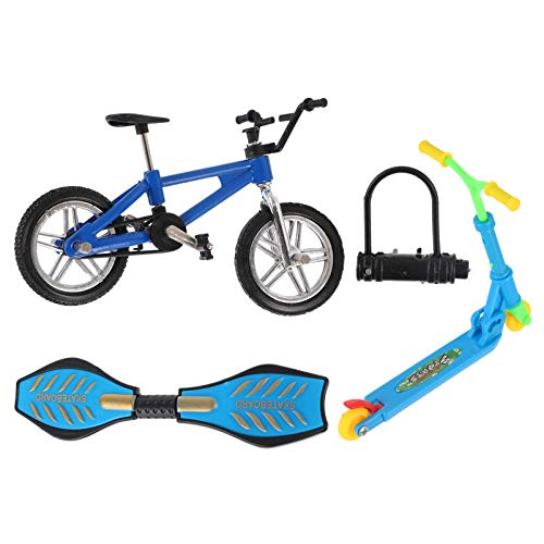 BESPORTBLE 1 Juego de Monopatín para Dedos Juguetes Mini Monopatín Bicicletas Scooter Swing Board Patín Dedos de Juguete Diapasones de Juguete para Niños Regalos de Cumpleaños Azul