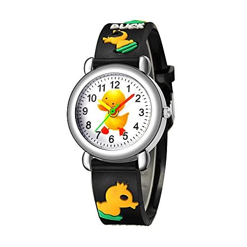 CXJC Reloj Deportivo Impermeable de 5 a 12 años, Reloj de Cuarzo de Dibujos Animados de Dibujos Animados en 3D, Cuatro Colores de Negro, Azul, Blanco y Amarillo (Color : Negro)