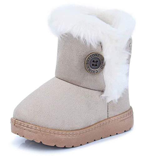 Gaatpot Zapatos Invierno Niña Niño Botas de Nieve Forradas Zapatillas Botón Botines Planas para Unisex Niños Beige 21.5 EU = 22 CN
