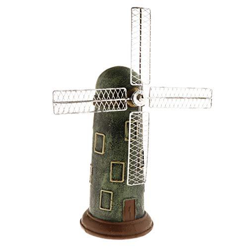 B Blesiya Figurines de Modèle de Moulin à Vent Banque En Résine - vert