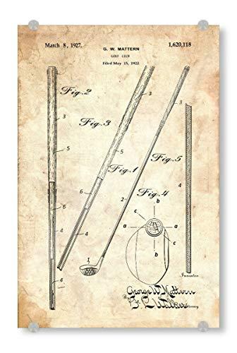 artboxONE Acrylglasbild 120x80 cm Sport Golfschläger (Antik) Bild hinter Acrylglas - Bild golfschläger patent Golf