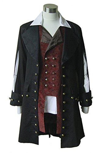 RedJade Pirates of The Caribbean 1 capitn Hector Barbossa Traje de Cosplay Disfraz Hombres XXL