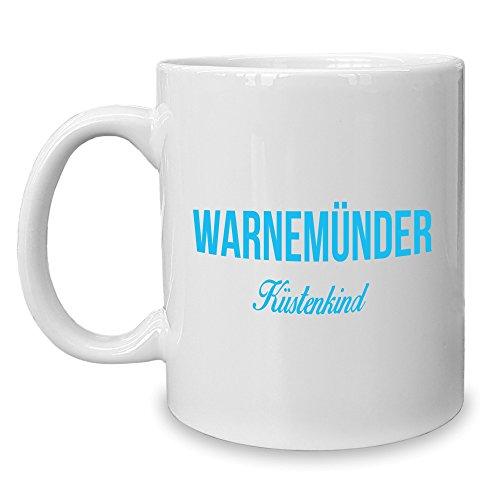 Shirt Department - Kaffeebecher - Tasse - Warnemünder Küstenkind Weiss-Cyan