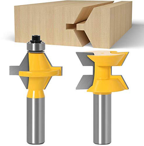 1/2 Inch Shank Router Bit Set 120 Degree Tongue Groove Router Bit Set with Edge Banding Woodworking Groove Chisel Cutter Tools, 2 Pieces