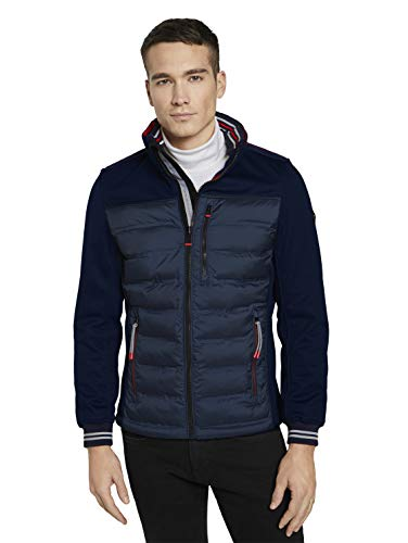 TOM TAILOR Herren 1024070 Hybrid Jacke, 10668-Sky Captain Blue, XL