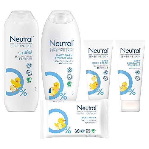 Neutral Geschenkset 6-delig - Bodycrème, Zinkzalf, Bad- en Wasgel, Billendoekjes, Shampoo en Jollein Nijlpaard Knuffel - 1 pakket