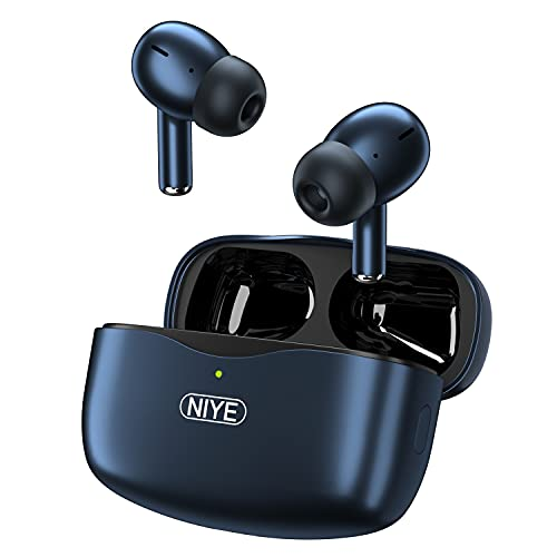 Noise Cancelling Wireless Earbuds,TWS Earbuds Built-in 4-Mic in-Ear Bluetooth 5.2 Headphones for iPhone/Andriod,Immersive Stereo Sound Ear Buds for Home,Office and Running (Royal Blue)