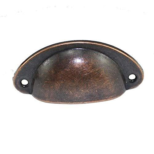 Retro metalen keuken ladekast deurklink en meubelknoppen Handwerk kast Antiek messing schelp handgrepen, rood brons, Frankrijk