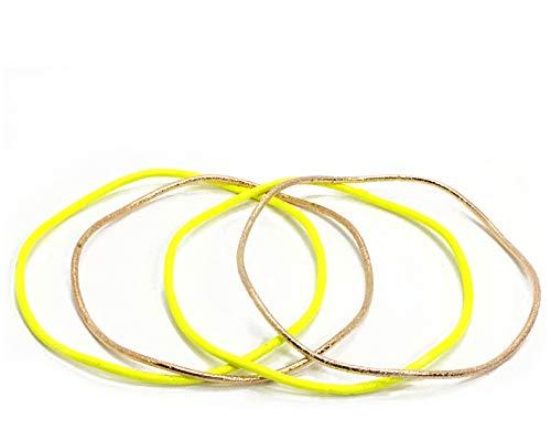 4teiliges Modeschmuck Armreif Set neon gold welle 1cm breit (Gelb)