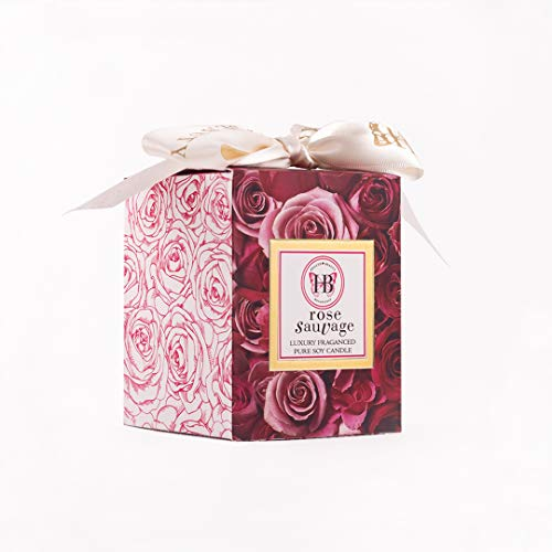 HB HEALTH BEAUTY BOTANICALS /Rose Sauvage Fragrance/7.5 Oz/Luxury Scented Soy Candles/Frosted Gold Glass Jar /Hand Poured/Highly Scented /Clean Burn/Gold Embossed Gift Box/Wood Wick/Satin Bow