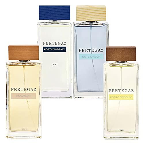 Pertegaz 'L'EAU' Set de 4 Eau de parfum Côte D'Azur + Port D'Andratx + Porto Vecchio + Provence, 150 ml c/u, fragancia para mujer, con pulverizador