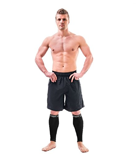 Copper Compression Recovery Calf Sleeves - Shin Splint Leg Sleeves. Guaranteed Highest Copper Content + Graduated Compression. Great For Running + Sports. Support Sore Muscles + Joints. (1 PAIR)