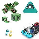 Base de carga, soporte de carga para Nintendo Switch / Lite, soporte de carga, funda compatible con conmutador, hasta 16 juegos, protector de pantalla, mango Joy Con 5 en 1 (5 en 1 verde Minecraft)