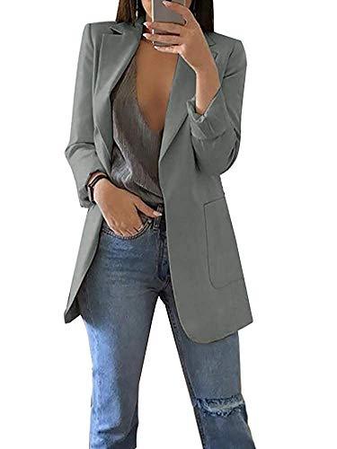 Minetom Damen Elegant Langarm Blazer Sakko Einfarbig Slim Fit Revers Geschäft Büro Jacke Kurz Mantel Anzüge Bolero mit Tasche A Grau DE 44
