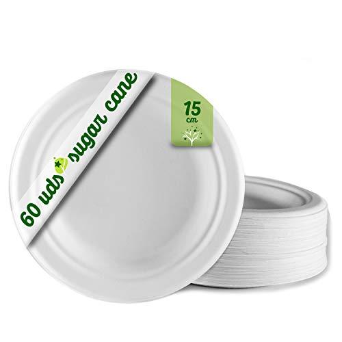 GoBeTree 60 Platos Desechables biodegradables de Papel de caña de azúcar de Ø15 cm. Vajilla desechable extrafuertes de Color Blanco. para Fiestas. Platos pequeños Redondos de bagazo.