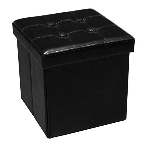 PAME 43432 Siège Pliable en Cuir synthétique 45 x 45 x 45 cm Noir