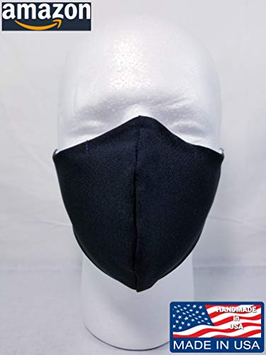 Double layered BLACK handmade face mask with nose wire, washable, all size available XXL, XL, L, M, S, unisex adult, Made in USA.