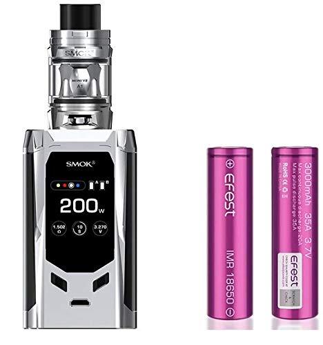 SMOK R-Kiss 200W Kit and TFV-Mini V2 2mL avec Efest 3000 mAh Battery X2 (Cromo) Cigarette électronique Sans nicotine ni tabac