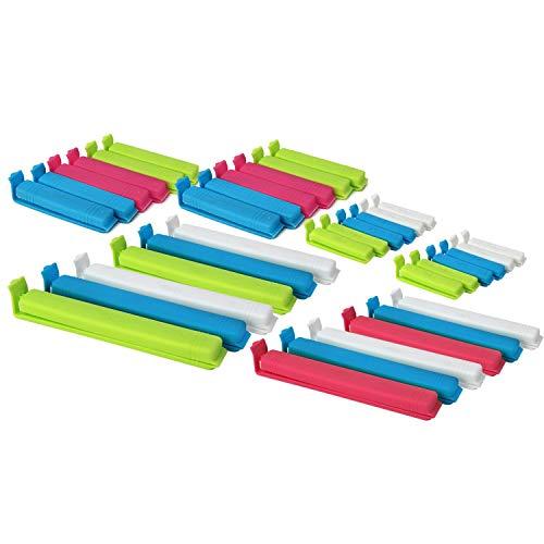com-four® 36x Verschlussclips aus Kunststoff, Verschlussklammern in verschiedenen Größen und Farben, Gefrierbeutel-Clip und Tüten-Klemmen für Cornflakes, Nüsse oder Kaffee (36 Stück - bunt)