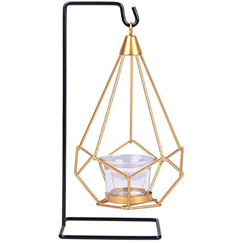 Yiyu Geometric Hanging Gold Metall Teelichthalter Mit Schwarzem Eisenständer Airplant Display Holder Moderne Dekorationen, Schaukelkerzenhalterständer x (Color : White)