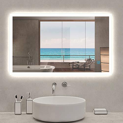 AICA SANITARIOS 90x70cm Moderno Espejo Baño led con Luz Anti-Niebla Pared sin Marco Vertical u Horizontal