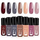 Modelones Gel Nail Polish Set, Red Brown Pink Nude Grey 7 Colors 6 ML Gift Box LED Soak Off Nail Gel Manicure Kit