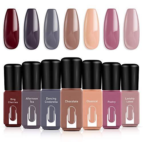 Modelones Gel Nail Polish Set Red Brown Pink Nude Grey 7 Colors 6 ML Gift Box LED Soak Off Nail Gel Manicure Kit
