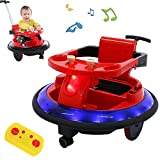 Electric Ride On Bumper Car, Kids Toy Electric Ride On Car for 360 Spin Powered with Light, Remote Control Walker Car Toy 6V Battery-Powered,for Boys Girls for Toddlers Aged 1- 3 Years (Red)
