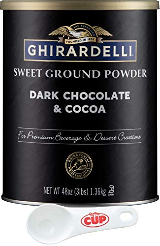 Ghirardelli Sweet Ground Dark Chocolate & Cocoa Powder, 3 Pound Can (Pack of 1) with By The Cup Cocoa Scoop