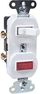 Legrand - Pass & Seymour 692WGCC6 Combination Grounding Single Pole 15-Amp 120-volt Switch and Pilot Light, White