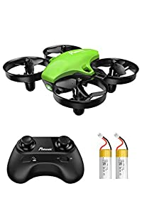 Potensic Upgraded A20 Mini Drone for Kids and Beginners, Remote Control Quadcopter with 2 Rechargeable Batteries,Auto Hovering, Headless Mode-Green