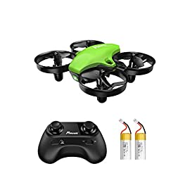 Potensic Upgraded A20 Mini Drone Easy to Fly Even to Kids and Beginners, RC Helicopter Quadcopter with Auto Hovering, Headless Mode, Extra Batteries and Remote Control-Green 5 Having Fun for More Time : 2 detachable batteries and 3 adjustable speed levels deliver exciting flight experience for amateurs and advanced pilots alike. Easy to Control: one key taking off/landing and headless mode function make the mini drone easy to fly for kids or beginners. Safe & Stable Flight: with the altitude hold mode, the rc nano quadcopter will be locked at a certain height, avoiding flying unbalance.