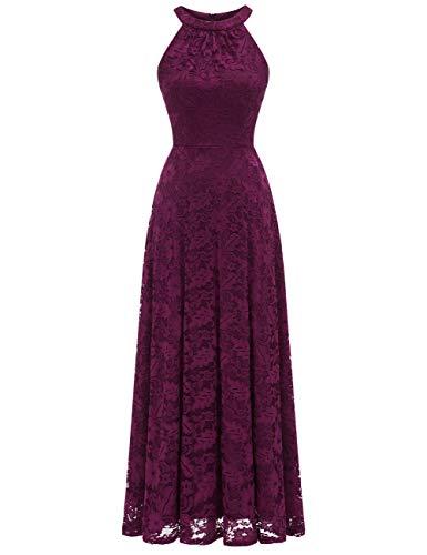 MuaDress 6012 Damen Abendkleider Lang Ballkleider Festliche Kleider für Hochzeit Maxi Spitzenkleid Grape L
