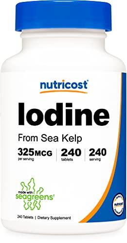 Nutricost Iodine (Natural Iodine from Sea Kelp) 325mcg, 240 Tablets - Non-GMO, Gluten Free