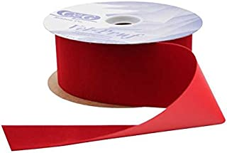 Berwick VEL-040-100-HOL Offray C&G Vel-Pruf Velvet Ribbon, Holiday Red