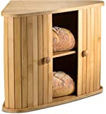 Klee Wooden Bread Box | Bamboo Bread Holder | Corner Bread Keeper Storage Box, Fully...