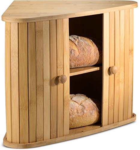 Klee Wooden Bread Box | Bamboo Bread Holder | Corner Bread Keeper Storage Box, Fully Assembled