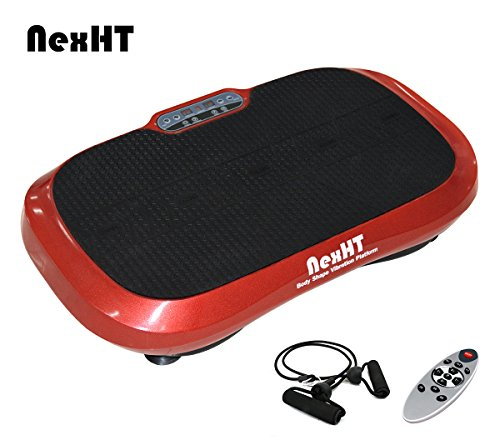 NexHT Fitness Body Shape Vibration Platform,Fit Massage,Exercise Machine Whole Body Workout Trainer with Remote Controller &Resistance Bands, Max User Weight 330lbs.(Wine Red 89009A)