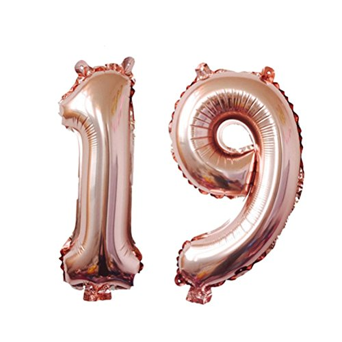 TOYMYTOY 40 Inch Rose Gold 19 Number Balloon,Jumbo Foil Balloons for Weeding Birthday Anniversary Party Supplies