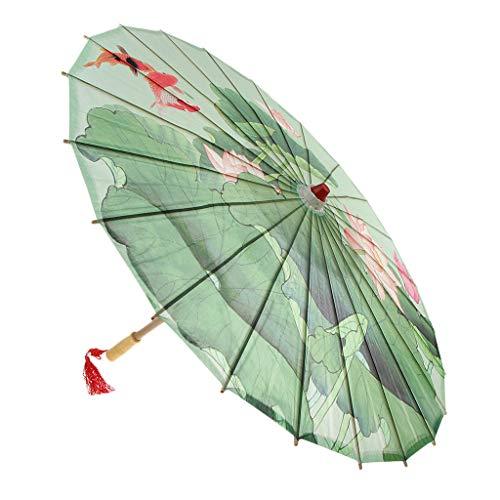 SDENSHI Sombrilla de Papel de Aceite Chino a Prueba de Lluvia, Parasol con Borla Colgante 33' - Estanque de Lotus, Individual