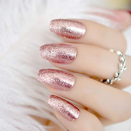 CoolNail Shiny Rose Gold Fake False Nails Coffin Ballerina Nail Tips Shining Sugar Glitter Deco Summer Salon Press on Nail Art Tip