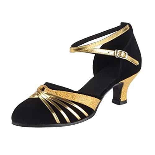 Zapato de Baile Latino para Mujer con Punta Cerrada - Standard Modern Tango Ballroom Salsa Party Tobillera con Correa Tacón Baile Damas Contemporáneo (Negro,39 EU