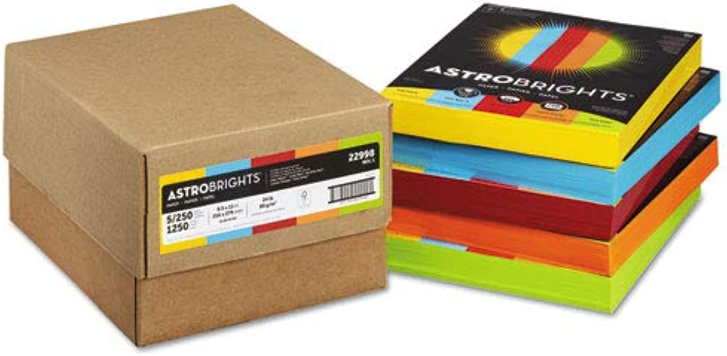 Astrobrights colord Paper, 24lb, 8-1 2 x 11, 5 Assorted, 1250 Sheets Carton, Sold as 1 Carton