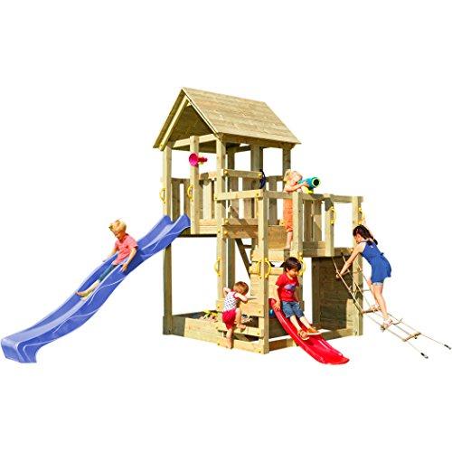 Blue Rabbit Spielturm Penthouse mit Rutsche 2,90 m + Babyrutsche + Kletternetz Farbe Blau