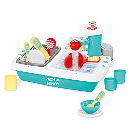 deAO Fregadero Electrónico con Sensor Juego de Utensilios para Cocina de Juguete Conjunto de Cocinita Infantil de Imitación para Niños y Niñas