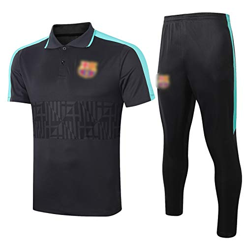 20-21 Traje de Entrenamiento de fútbol de Barcelona de Manga Corta, Traje de Entrenamiento Transpirable, Traje de Polo (Camiseta + Pantalones) s-XXL L