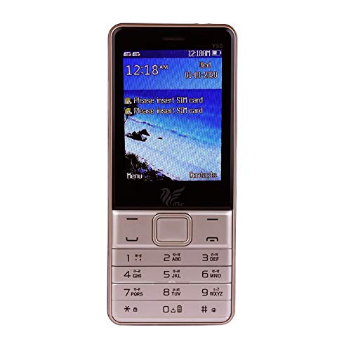 iAir Basic Feature Dual Sim Mobile Phone with 2800mAh Battery, 2.8 inch Display Screen, 0.8 mp Camera with Big LED Torch (IAIRFPY50, Gold)