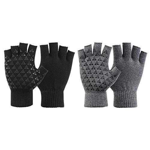 QKURT Verdickte Halbfinger-Handschuhe, Winter Fingerlose Handschuhe, Anti-Rutsch-Strickhandschuhe für Damen und Herren