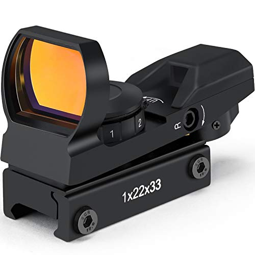 Red Dot Reflex Sight with Multiple Reticle, 20mm Standard Free Mount Picatinny Rail, Waterproof & Shockproof