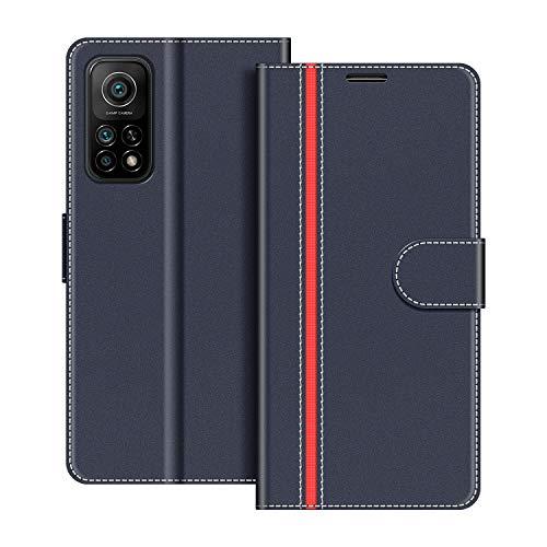 COODIO Handyhülle für Xiaomi Mi 10T Handy Hülle, Xiaomi Mi 10T Hülle Leder Handytasche für Xiaomi Mi 10T / Mi 10T Pro Klapphülle Tasche, Dunkel Blau/Rot
